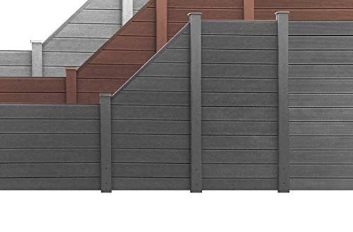 vidaXL WPC Zaun 180x180cm Grau Windschutz Sichtschutz Lamellenzaun Gartenzaun