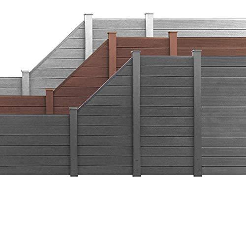 HORI® WPC Garten Zaun I Lamellenzaun, Sichtschutz Komplettset I Braun I Höhe 180 cm I 1x Schräg und 1x Pfosten klein