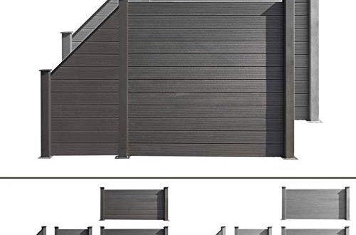 HORI® WPC-Zaun I Sichtschutz-Zaun, Steckzaun, Gartenzaun Komplettset I zum einbetonieren I anthrazit