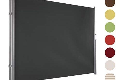 Ultranatura Maui Seitenmarkise, Seitenwandmarkise ausziehbar, Seitenrollo Balkon, Terrasse und Garten, Windschutz und Sichtschutz robust, 300 x 180 cm, grau