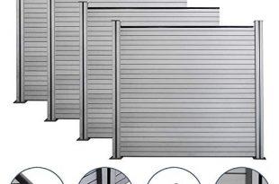 wolketon WPC Garten Zaun Grau Sichtschutz Komplettset UV-Bestandig, Höhe 185 cm Robust Gartensichtschutz, 4X Quadratisch und 5X Pfosten