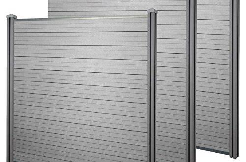 Mendler WPC Sichtschutz Sarthe Windschutz Zaun WPC Pfosten 3er Set 57m 500x330 - Mendler WPC-Sichtschutz Sarthe, Windschutz Zaun, WPC-Pfosten ~ 3er Set, 5,7m grau