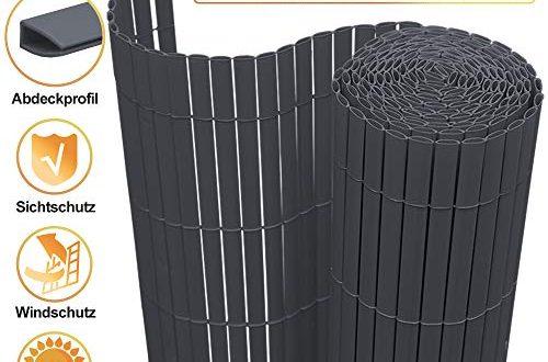 VINGO PVC Sichtschutzmatte Sichtschutzzaun Balkon Zaun Sichtschutz, für Garten Terrasse Außenbereich Swimming Pools, Windschutz Wetterfest Sichtschutz, 100x1000cm Grau